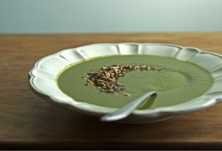 Green Monster Soup with Za'atar Toasted Sunflower Seeds | Veggies on ...